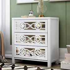 antique white kitchen storage cabinet p purlove storage chest wood storage cabinet retro style storage unit with 3 storage drawers and decorative mirror for home bedroom living room