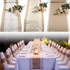 10pcs wedding table runners vintage burlap lace hessian