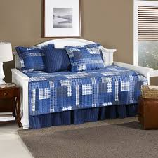 eddie bauer eastmont blue plaid 5 piece daybed quilt cover set