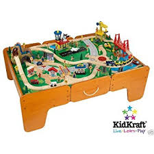 wooden train set table amazon com 48 piece kidkraft rapid waterfall train set and wooden