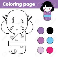 printable japanese worksheets coloring page with cute japanese kokeshi doll children educational