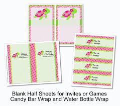 pink turtle printable party decorations instant download