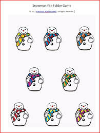 snowman file folder game and writing practice free printable