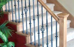 Wrought Iron And Wood Banisters Wood Stair Parts Handrail Balusters U0026 Custom Wood Stair Treads