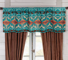 Turquoise Curtain Rod Western Curtains And Window Treatment Lone Star Western Décor