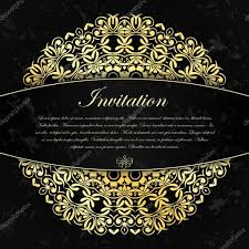 Gold Invitation Card Elegant Decorative Black Invitation Card With Gold Ornament And
