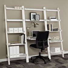 Shelf Computer Desk White Linea Leaning Desk The Container Store