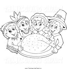 thanksgiving indians and pilgrims indian color clip art 24