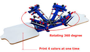 high quality 4 color 2 station screen printing press