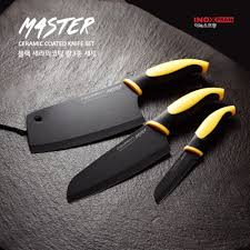 inox master 3pcs knives set sharp black ceramic coated chef