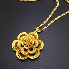 gold big pendant necklace images Fashion colorfast vacuum plated 24k gold necklace big flower jpg