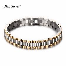 solid metal bracelet images 9 5mm 316l stainless steel gold silver two tone watch band strap jpg