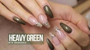 acrylic nail design heavy green youtube