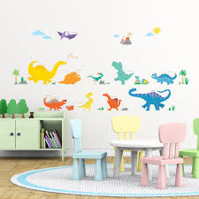 colourful dinosaur wall stickers