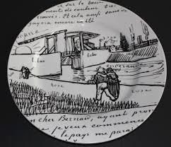 autograph plate gogh autograph letter langlois bridge 13 plate black white