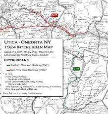 New England Area Map by New York State Utica Oneonta Interurbans
