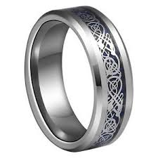 wedding ban 8mm blue silvering celtic tungsten carbide ring mens