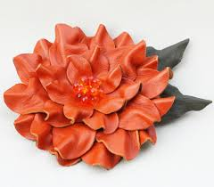 leather hair accessories wedding hair accessories orange leather hair flower