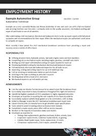 Resume Work History Examples by Lovely Automotive Mechanic Resume With Auto Mechanic Job