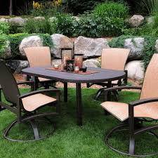 5 patio set homecrest havenhill 5 sling patio dining set with faux