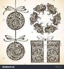 vector set vintage decorative ornamental objects stock vector
