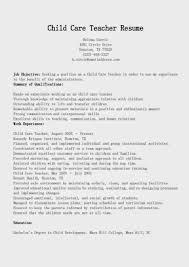 Childcare Resume Templates Sample Child Care Worker Cover Letter Child Youth Care Worker