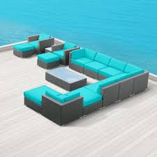 Patio Lawn And Garden Amazon Com Modern Outdoor Patio Furniture Wicker Bella 15 Piece