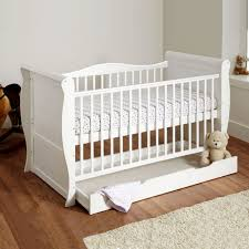 Sleigh Cot Bed 4baby 3 In 1 Sleigh Cot With Storage Drawer White Buy At
