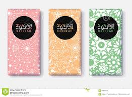 vector set of chocolate bar package designs with pastel geometric