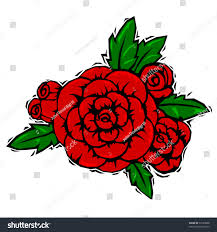 Red Rose Corsage Red Rose Corsage Leaves Woodcut Style Stock Vector 57585808