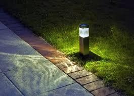 Landscape Bollard Lights Solar Lights Bright 10 Lumen Stainless Steel Outdoor Bollard