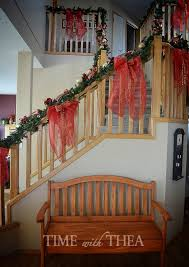 Christmas Banister Garland How To Decorate A Banister For Christmas Time With Thea