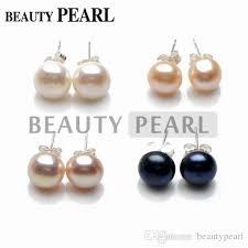 pearl earrings stud freshwater pearl button stud earrings 925 sterling silver