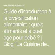 la cuisine de bebe guide d introduction à la diversification alimentaire quels