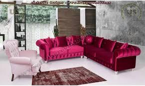 Chesterfield Sectional Sofa Velvet Chesterfield Sectional Sofa Set Red White Luxury Elegant