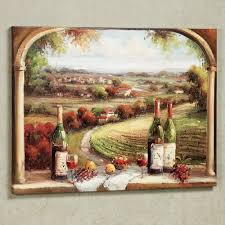 fabulous country and wine bottles portray as vintage kitchen wall