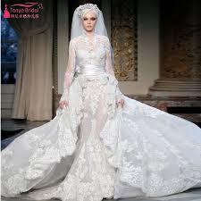 high wedding dresses 2011 high neck muslim sleeve lace wedding dresses detachable