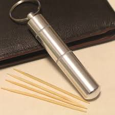 portable toothpick box stainless steel pocket toothpick holder