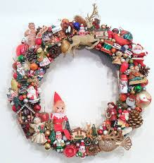 wreath with vintage ornaments kitsch by sweetlenasretro