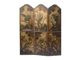 antique leather screen with birds and floral decoration for sale