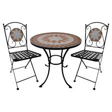 Tile Bistro Table Chic Bistro Settings Outdoor Furniture Marquee 3 Piece Mosaic Tile