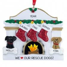 family of 3 with 2 dogs white fireplace ornament personalized