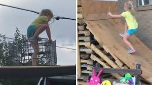 5 year old takes american ninja warrior course made by dad
