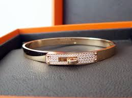 bangle bracelet diamond images Love new authentic hermes kelly rose gold bangle bracelet half JPG