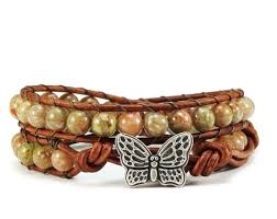 butterfly clasp bracelet images Leather wrap bracelet autumn jasper gemstones butterfly clasp jpg