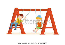 swing guys on playground concept guys stock vector 579310486