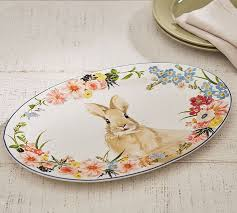 happy everything platter sale floral bunny serving platter pottery barn