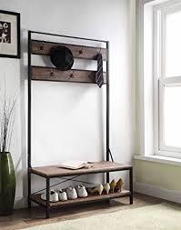 amazon com vintage dark brown entryway shoe bench with coat rack