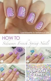 sideways french manicure spring nail art tutorial sonailicious