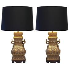 Urn Table Lamp Pair Of Impressive Bronze Brass Chinese Chinoiserie Urn Table